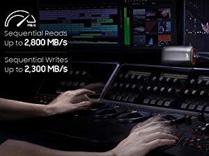 Samsung X5 Portable SSD – 2TB – Thunderbolt 3 External SSD (MU-PB2T0B/AM) Gray/Red