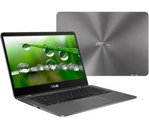 """מחשב נייד """"14 Asus ZenBook Flip 14 UX461FA-E1073T i5-8265U בצבע אפור, כונן 512GB SSD, זכרון 8GB, ומ. גרפי Intel 620"""