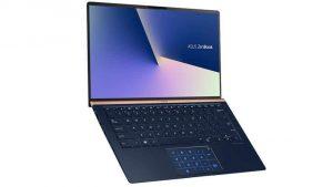"""מחשב נייד Asus ZenBook UX434FL-AI064T i5-8265U – כחול  מחשב נייד מבית Asus בעל מעבד i5-8265U, זכרון בנפח 8GB, כונן קשיח מהיר בנפח 1TB SSD, מסך מגע """"14.0, מאיץ גרפי NVIDIA GeForce MX250, מקלדת מוארת ופד מגע עם תצוגה – ScreenPad"""