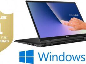 מחשב נייד עם מסך מגע מעבד Intel® Core™ i7-10510U, זיכרון  8GB, כונן SSD בנפח 512GB, מאיץ גרפי NVIDIA GeForce® MX250 2GB Asus Zenbook Flip 14 UX463FL-AI062T – צבע אפור
