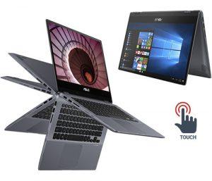 """מחשב נייד """"14 Asus VivoBook Flip 14 TP412FA-EC375T i5-10210U בצבע אפור, כונן 256GB SSD, זכרון 8GB, ומ. גרפי Intel UHD"""