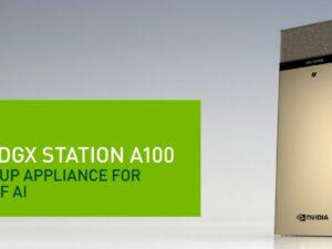 תחנת למידה NVIDIA DGX Station A100 320GB 4x NVIDIA A100 80 GB GPUs 320GB/AMD 7742 512GB DDR4